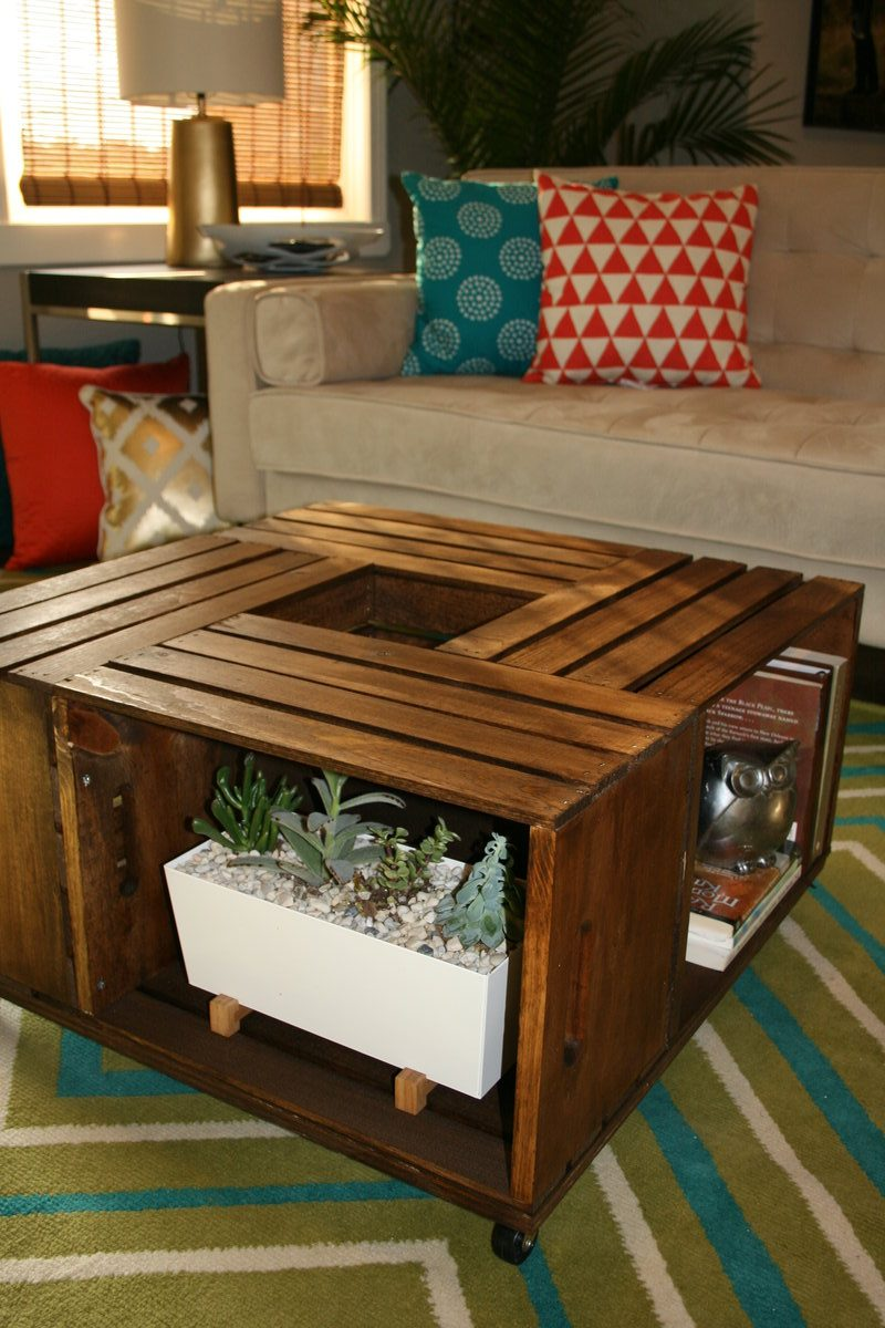 Delicieux DIY Wooden Wine Crate Coffee Table 8