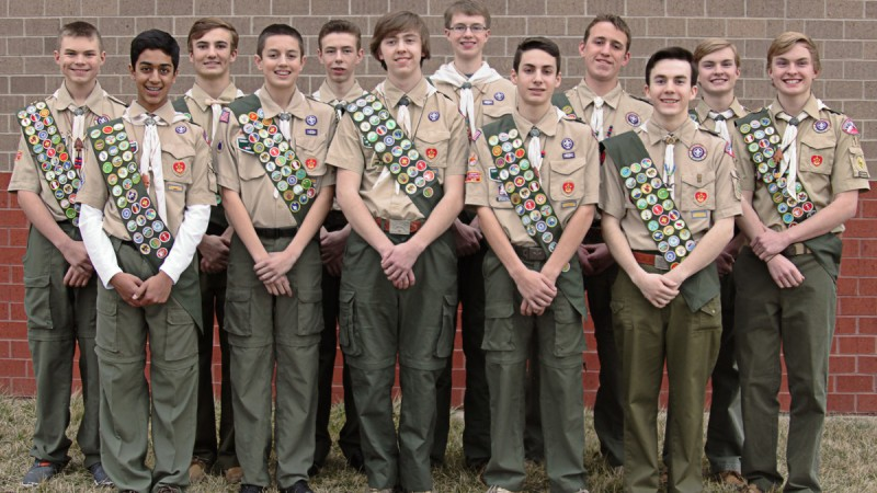 Twelve Scouts Awarded Eagle through Leawood's Troop 10